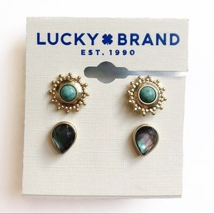 LUCKY BRAND Gold Stud Earring Set NWT